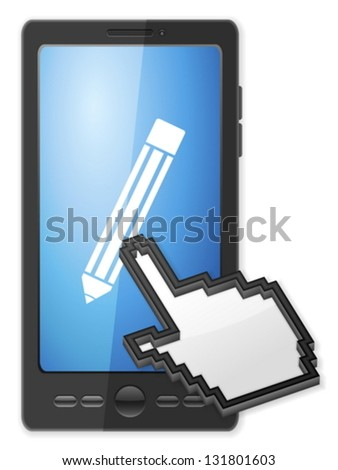 Phone, cursor and pencil symbol on a white background. - stock vector