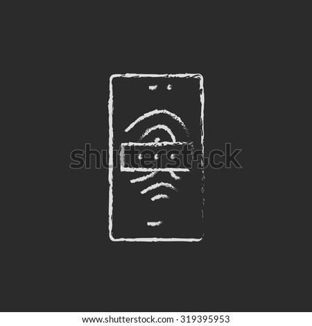 Phone fingerprint hand drawn in chalk on a blackboard vector white icon isolated on a black background. - stock vector