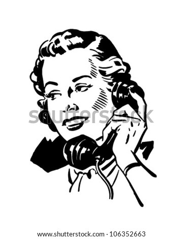 Phone Gal 2 - Retro Clipart Illustration - stock vector