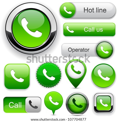 Phone green design elements for website or app. Vector eps10. - stock vector