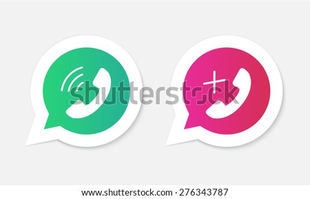 Phone handset icons in speech bubbles. - stock vector