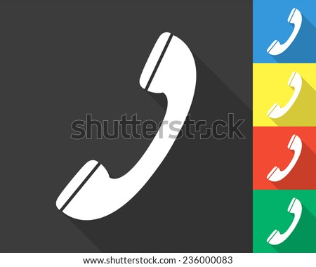 phone icon - gray and colored (blue, yellow, red, green) vector illustration with long shadow - stock vector