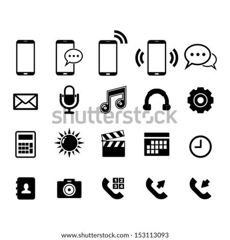 Phone Icon set - stock vector