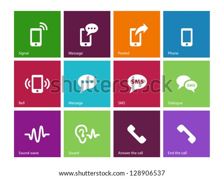 Phone icons on white background. Vector illustration. - stock vector