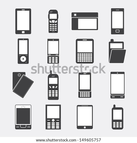 Phone Icons Set - Isolated On Gray Background - Vector Illustration, Graphic Design Editable For Your Design. Phone Logo - stock vector