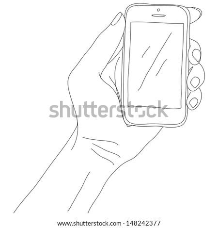 phone in hand sketch, eps10, vector - stock vector