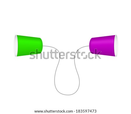 Phone made from plastic cups - stock vector