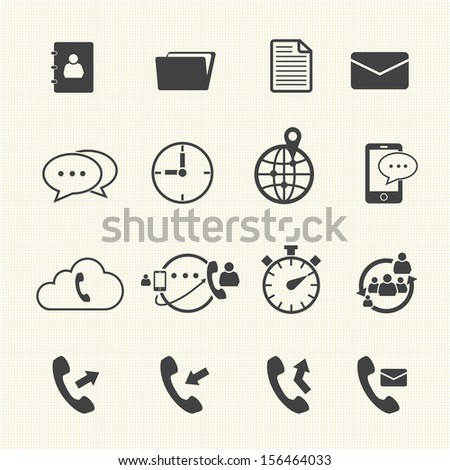 Phone mail icon set - stock vector