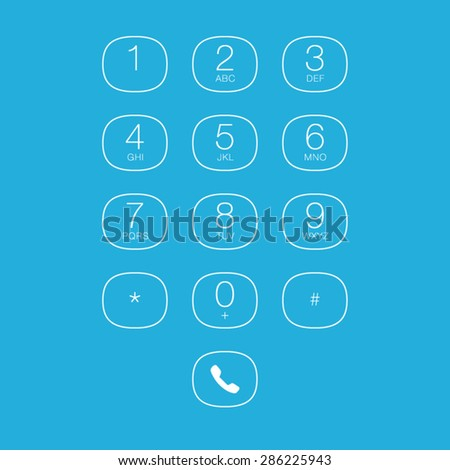 Phone Outline Keypad for Touchscreens. Vector User Interface - stock vector