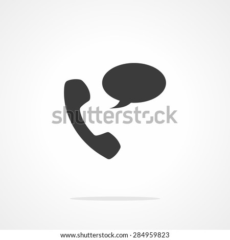 "Phone receiver as ""contact us"" icon. Telephone handset with talk bubble - stock vector"
