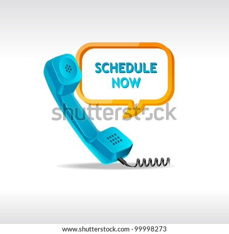 "phone receiver as ""shedule now"" - stock vector"