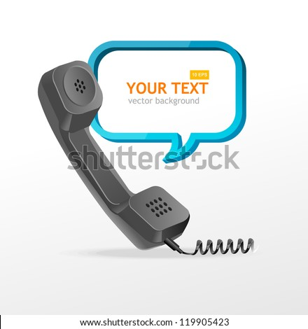 phone receiver as text box - stock vector