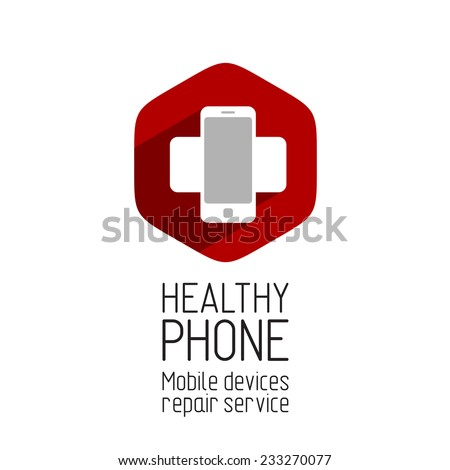 Phone repair service logo template. Crossing phones with shadow at the hex background. - stock vector