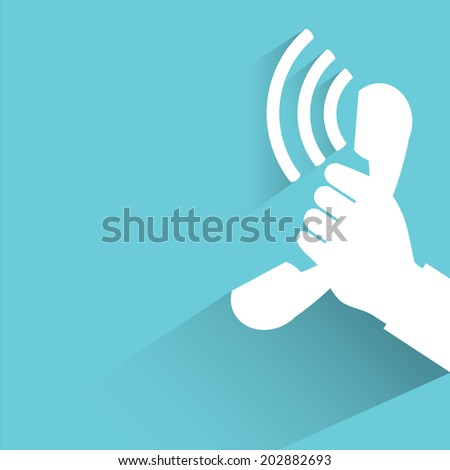 phone ring, blue shadow and flat theme - stock vector