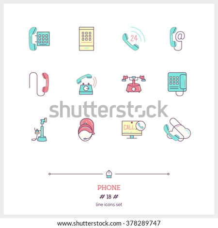 Phone set. Thin line art icons. Flat style illustrations isolated on white. - stock vector