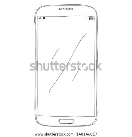 phone sketch, eps10, vector - stock vector