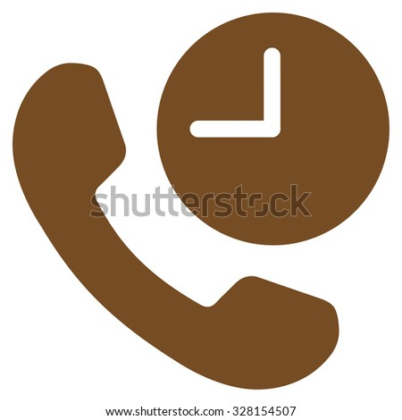 Phone Time vector icon. Style is flat symbol, brown color, rounded angles, white background. - stock vector