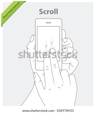 Phone touch gestures. Scroll screen - stock vector