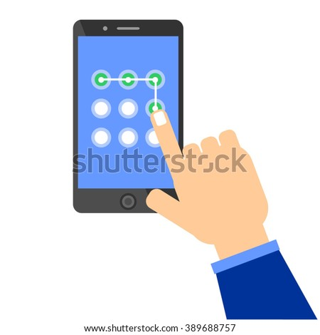 Phone unlocking pattern. Hand performing touch gesture to unlock device. Idea - Security technologies, Limited access, Passwords and Unlocking mobile phones concepts. - stock vector