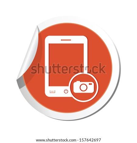 Phone with camera menu icon. Vector illustration - stock vector