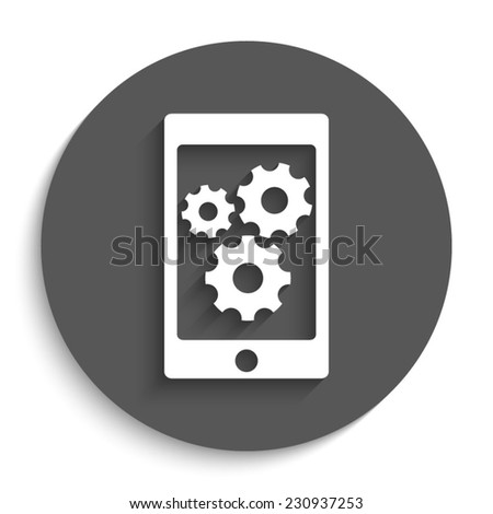 phone with gears and cogs  - vector icon with shadow on a round grey button - stock vector