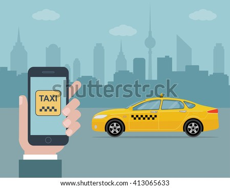 Phone with interface taxi on a screen on a background taxi in the city. Mobile app for booking taxi service. Flat vector illustration for business, info graphic, banner, presentations.  - stock vector