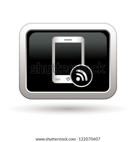 Phone with rss icon. Vector illustration - stock vector