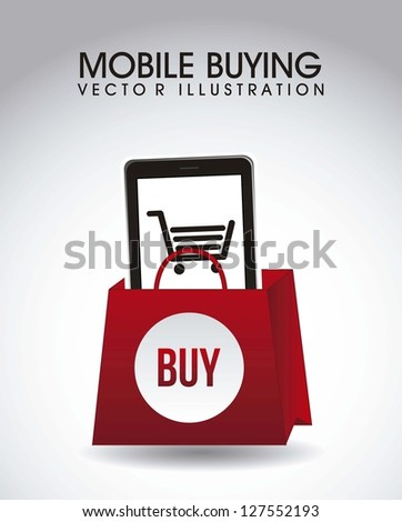 phone with shopping bag, mobile buying. vector illustration - stock vector