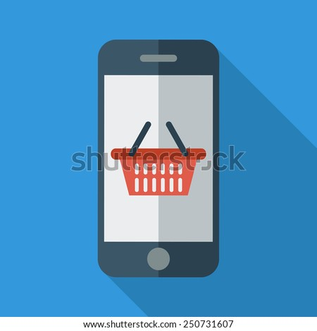 Phone with shopping basket. Color Flat design style. Vector illustration. - stock vector