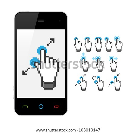 Phone with touch screen gestures. Vector illustration. - stock vector