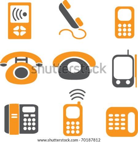phones signs. vector - stock vector
