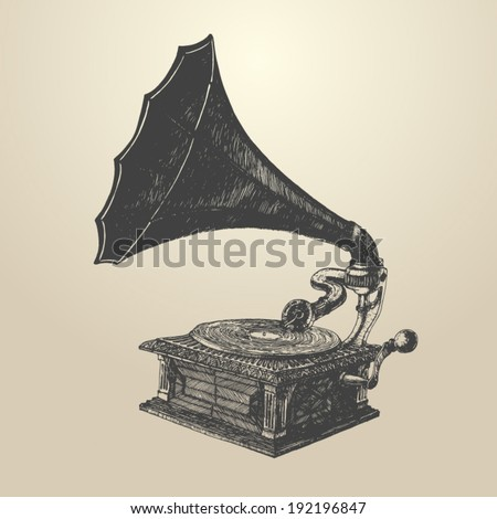 Phonograph - vintage engraved illustration, retro style, hand drawn - stock vector