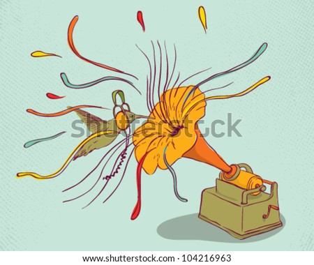 Phonograph with hummingbird and flowers - stock vector