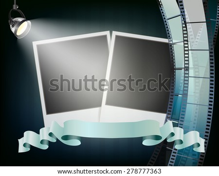photo album background, studio lights, wavy filmstrip,  and ribbon - stock vector