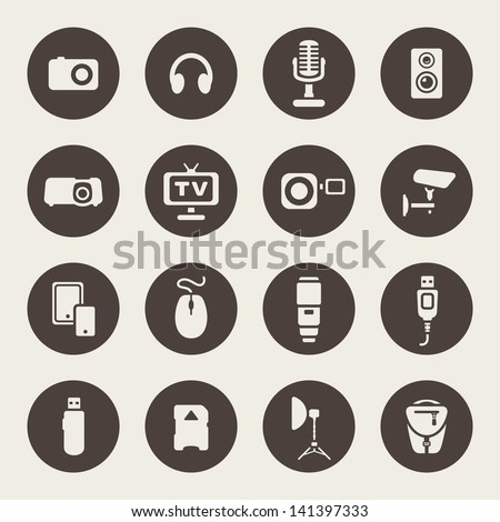 Photo and other technical devices icons set - stock vector
