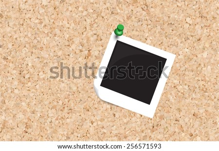 Photo and push pin isolated on cork board ready for your text.,Vector - stock vector