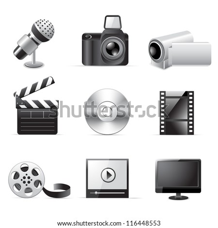Photo and video icons - stock vector