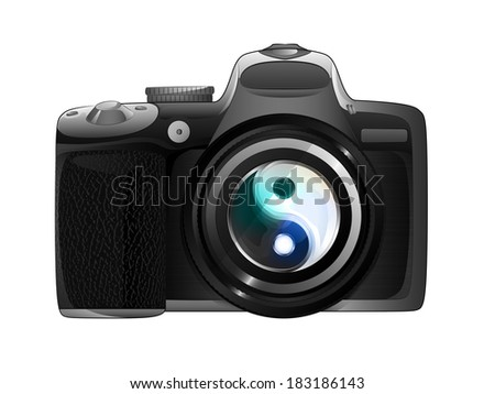 photo balance sign in camera focus ready to snapshot isolated vector illustration - stock vector