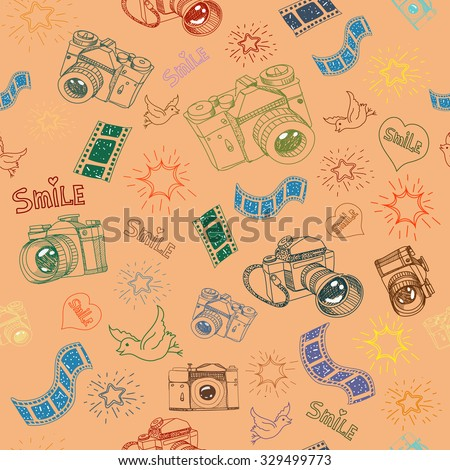 Photo camera and film sign  symbol doodles hand drawn seamless pattern vector - stock vector