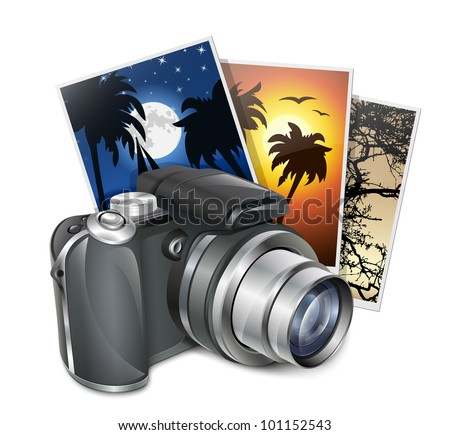 Photo camera and photos. Professional vector illustration - stock vector