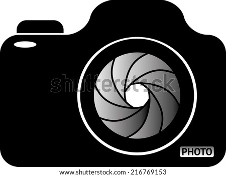 Photo Camera. Black and white vector illustration - stock vector