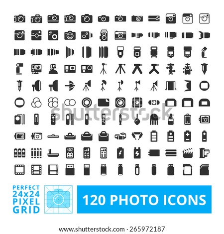 Photo camera black web and system icons with accessories set. Photography vector icon element isolated on a white background. Designed by 24x24 pixel grid. - stock vector