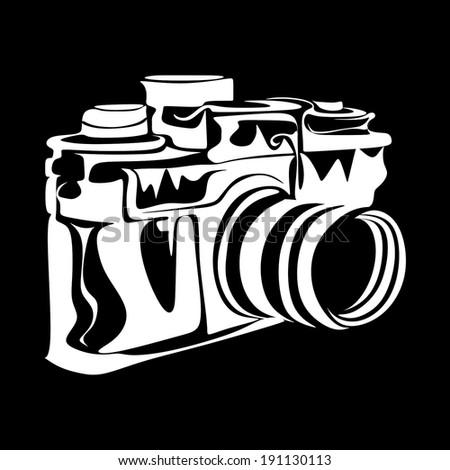 Photo camera drawing vector - stock vector