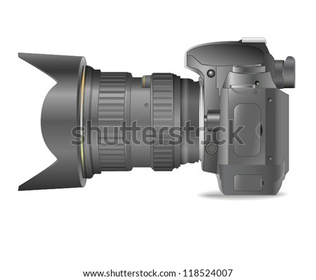Photo camera, DSLR - stock vector