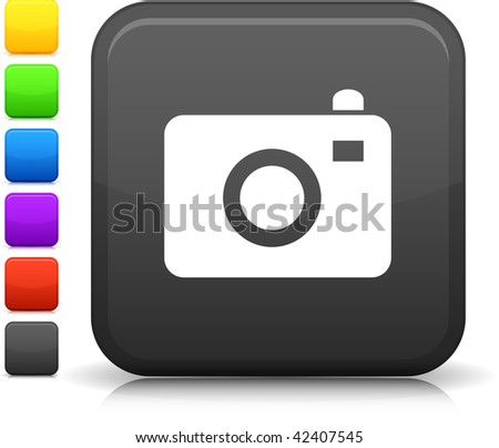 photo camera icon on square internet button  Six color options included. - stock vector