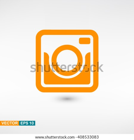 Photo camera icon vector eps 10. Orange Photo camera icon with shadow on a gray background. - stock vector