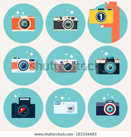 Photo camera icons set in flat style. Flat design vector stylish illustration with modern colors. Isolated on stylish background. Set 1. - stock vector