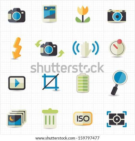 Photo camera setting icons - stock vector