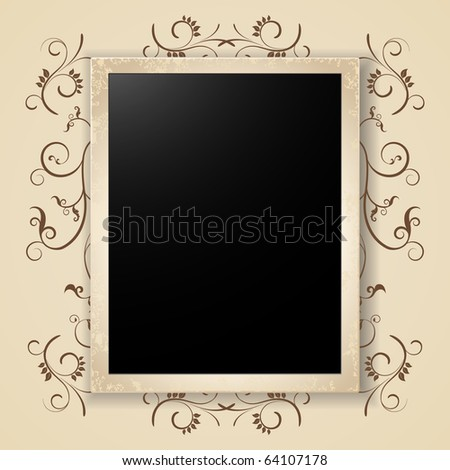 photo card on floral background - stock vector