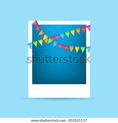 Photo card with color flags. Festive vector background with a garland from tags and confetti - stock vector